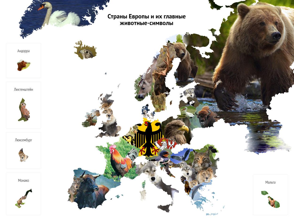 карта национальных животных стран европы